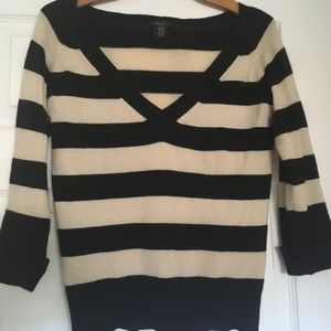 Arden B LUXE Striped 100% Cashmere V Neck Sweater